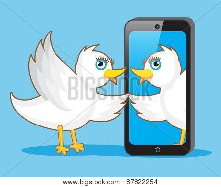 White Bird Makes Selfie with Smartphone