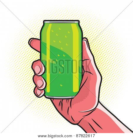 Fresh Green Drink Can in Hot Red Hand