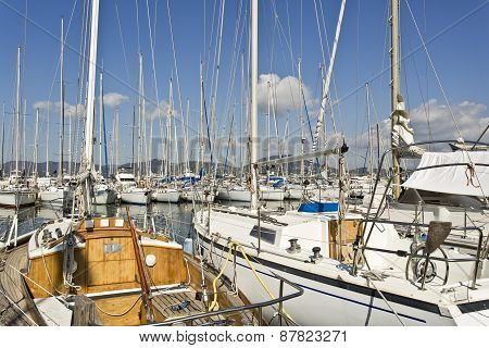 Yachts Mooring In The Marina Of Saint Tropez.