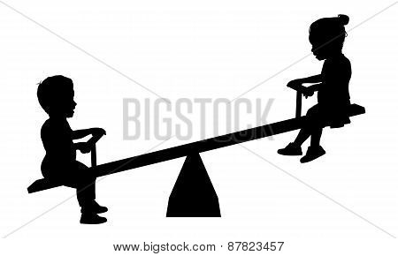 Children On Seesaw