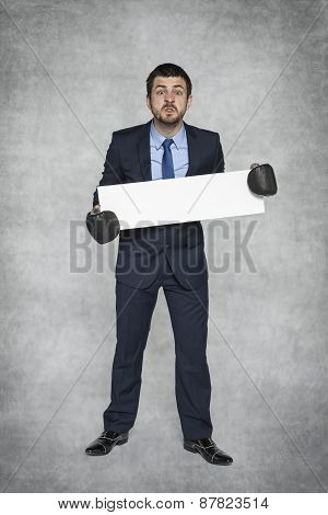 Angry Businessman And Space For Advertisement