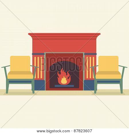 Sofas And Fireplace Living Room Interior.