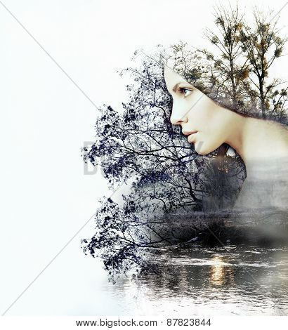 Abstract Double Exposure Of Woman And Beauty Of Nature At The Sunset On The River