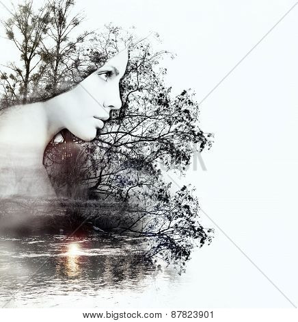 Abstract Double Exposure Of Woman And Nature At The Sunset On The River