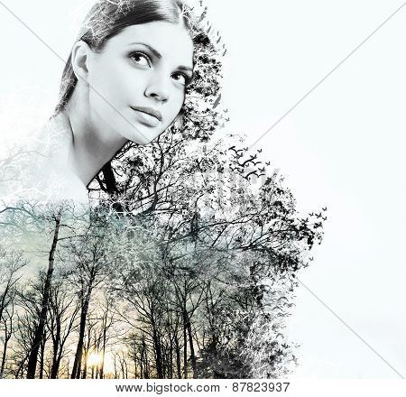 Double Exposure Of Attractive Woman And Beauty Of Nature At The Sunset
