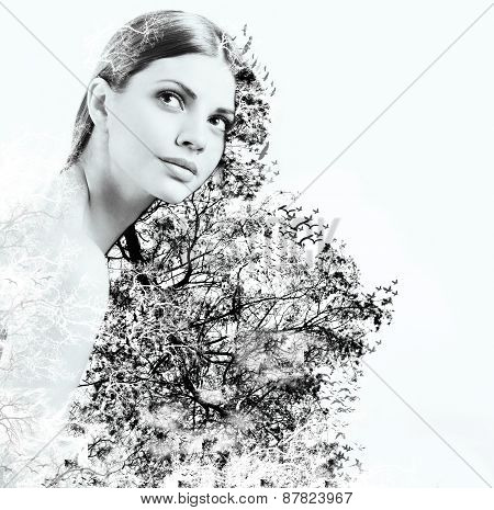 Double Exposure Of Attractive Woman And Beauty Of Nature