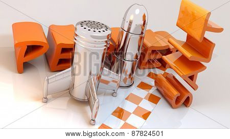 retro style salt and pepper shakers