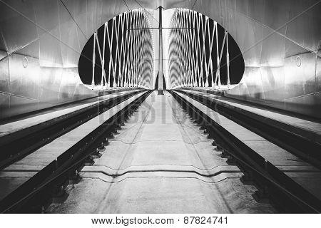 night view of bowstring arch Troja bridge, Prague, Czech Republic