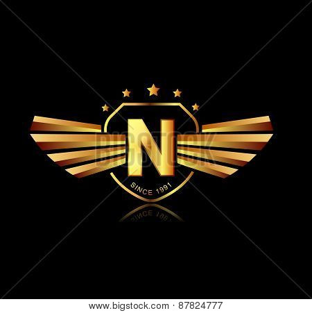 Letter N Winged Crests Logo . Alphabet Logotype Design Concept