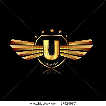 Letter U Winged Crests Logo . Alphabet Logotype Design Concept