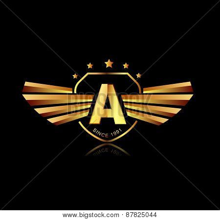 Letter A Winged Crests Logo . Alphabet Logotype Design Concept