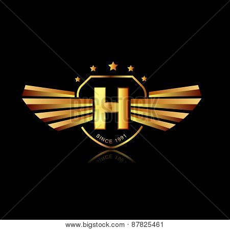 Letter H Winged Crests Logo . Alphabet Logotype Design Concept