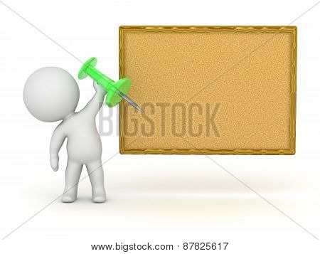 3D Character Holding Pin for Corkboard