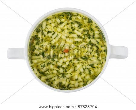 Bowl Of Soup With Pasta. Top View