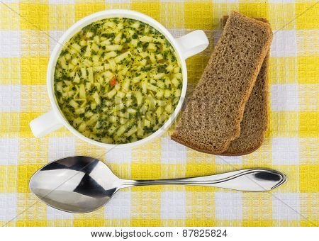 Bowl Of Soup With Pasta, Bread. Top View