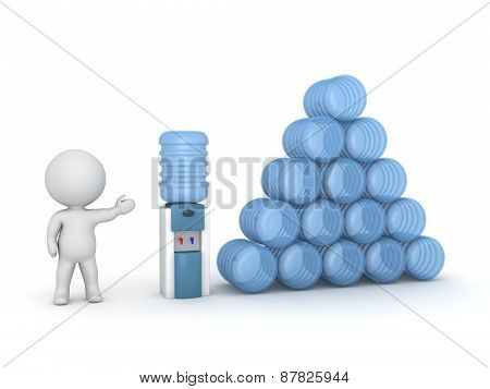 3D Character Showing Watercooler and Supply of Water