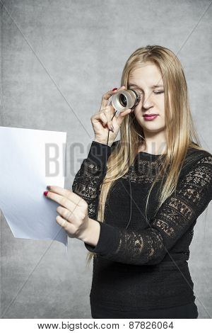 Business Woman Reading Her Contract