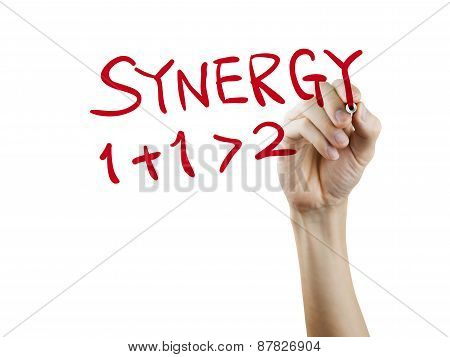 Synergy Word Written By Hand