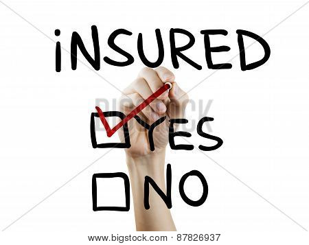 Yes Insured Words Written By Hand