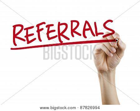 Referrals Word Written By Hand