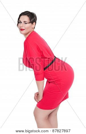 Beautiful Plus Size Woman In Red Dress Winking Isolated