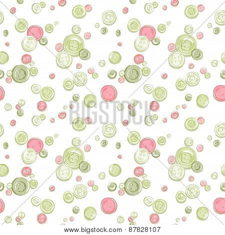 hand drawn colorful buttons seamless pattern