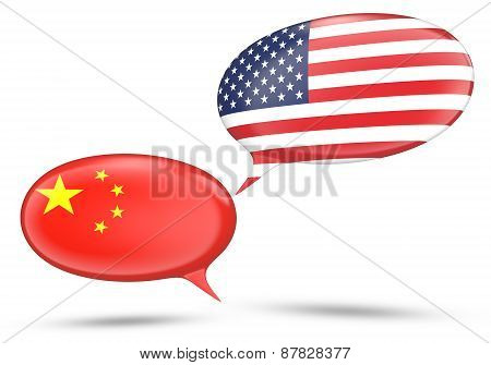 China - United States relations concept with speech bubbles