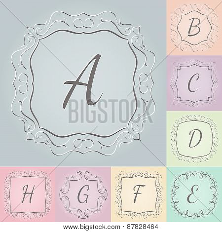 Set of 3d monograms hand drawn style colorful with frames