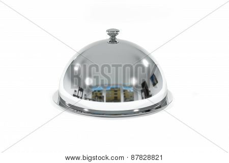 Silver Restaurant Cloche On White Surface