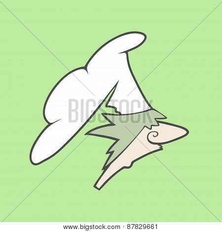 Flat vector icon or logo of cute chef with hat