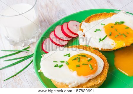 Poached Egg On Toast With Chives