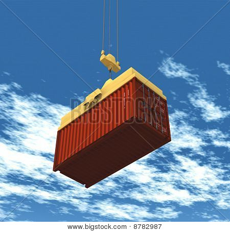 container hoisted by a crane
