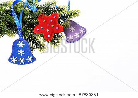 Christmas Background With Christmas Tree And Toys Bells