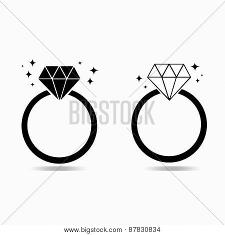 Diamond engagement ring of love concept