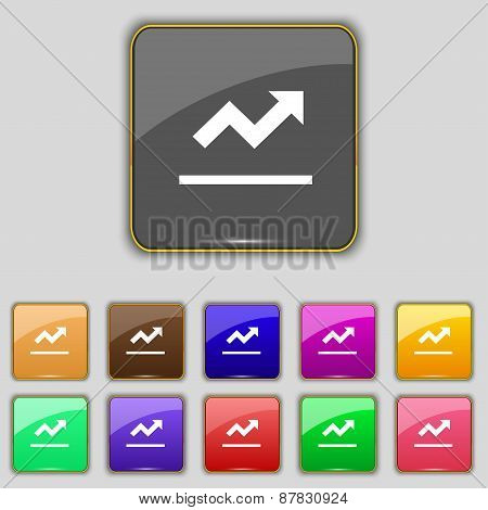 Graph Chart, Diagram Icon Sign. Set With Eleven Colored Buttons For Your Site. Vector