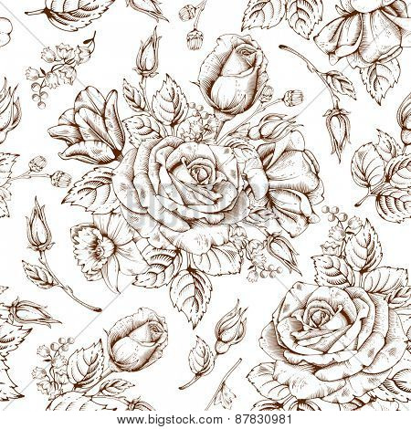 Vintage luxury seamless pattern with detailed hand drawn flowers - blooming rose. Vector. Easy to edit.