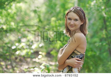 Pretty Girl In The Forest Of Acacia Trees