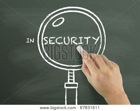 Security Word With Magnifying Glass Drawn By Hand