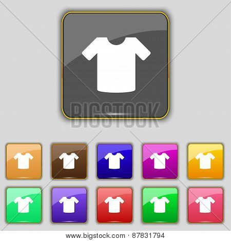 T-shirt, Clothes Icon Sign. Set With Eleven Colored Buttons For Your Site. Vector