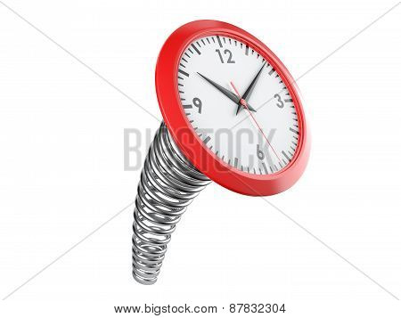 Modern Clock On A Industrial Spring. Time Concept