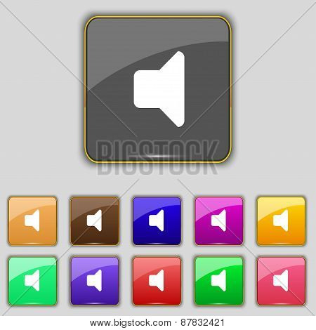 Speaker Volume, Sound Icon Sign. Set With Eleven Colored Buttons For Your Site. Vector