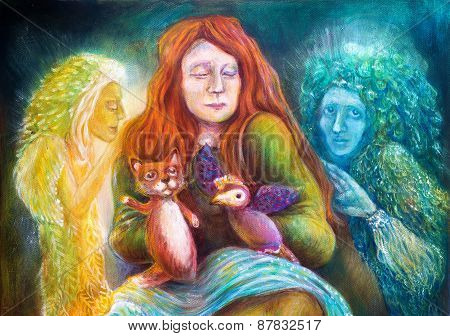 Woman Story Teller With Puppets And Protective Spirits, Fantasy Imagination Colorful Painting, Detai