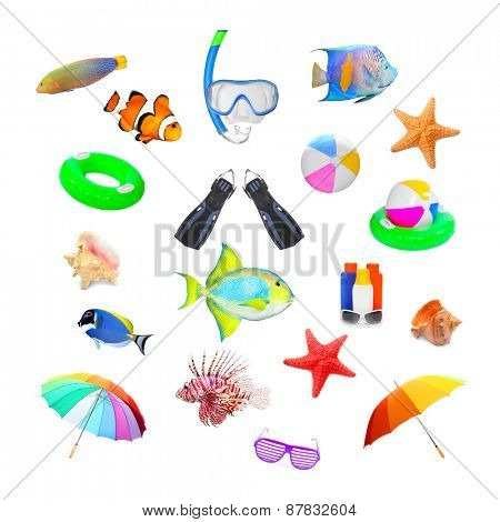 Great collection of isolated objects on tropical beach vacations theme.
