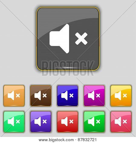 Mute Speaker , Sound Icon Sign. Set With Eleven Colored Buttons For Your Site. Vector