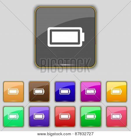 Battery Fully Charged Icon Sign. Set With Eleven Colored Buttons For Your Site. Vector