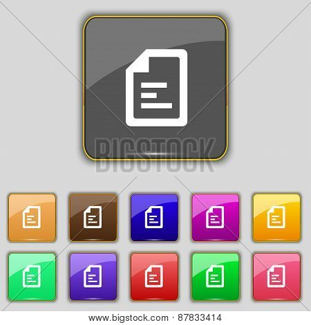 Text File Icon Sign. Set With Eleven Colored Buttons For Your Site. Vector