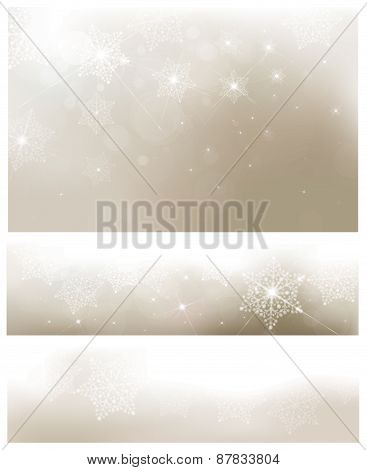 Vector silver Christmas banners.