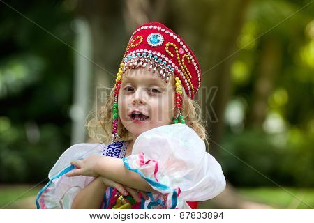 Beautiful little girl in Ukrainian national dress