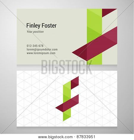Modern Letter F Origami Business Card Template