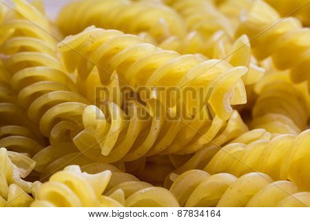 Cooking Background, Close Up Of Spiral Shaped Pasta